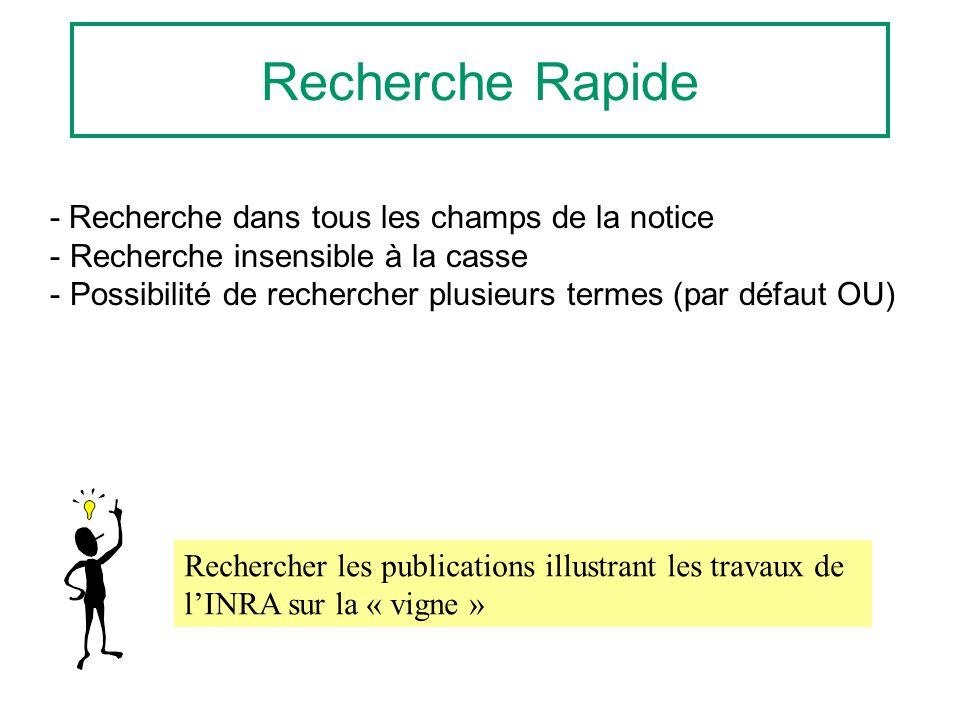 Recherche Rapide - Recherche dans tous les champs de la notice - Recherche insensible à la casse - Possibilité de rechercher plusieurs termes (par défaut OU) Rechercher les publications illustrant les travaux de lINRA sur la « vigne »