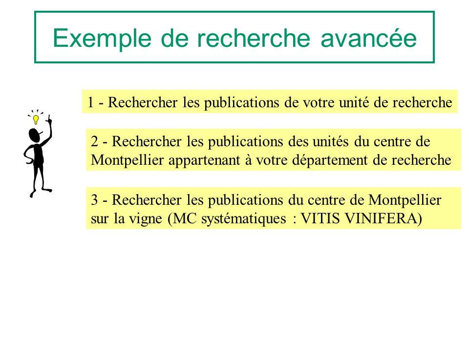 Exemple de recherche avancée 1 - Rechercher les publications de votre unité de recherche 2 - Rechercher les publications des unités du centre de Montpellier appartenant à votre département de recherche 3 - Rechercher les publications du centre de Montpellier sur la vigne (MC systématiques : VITIS VINIFERA)