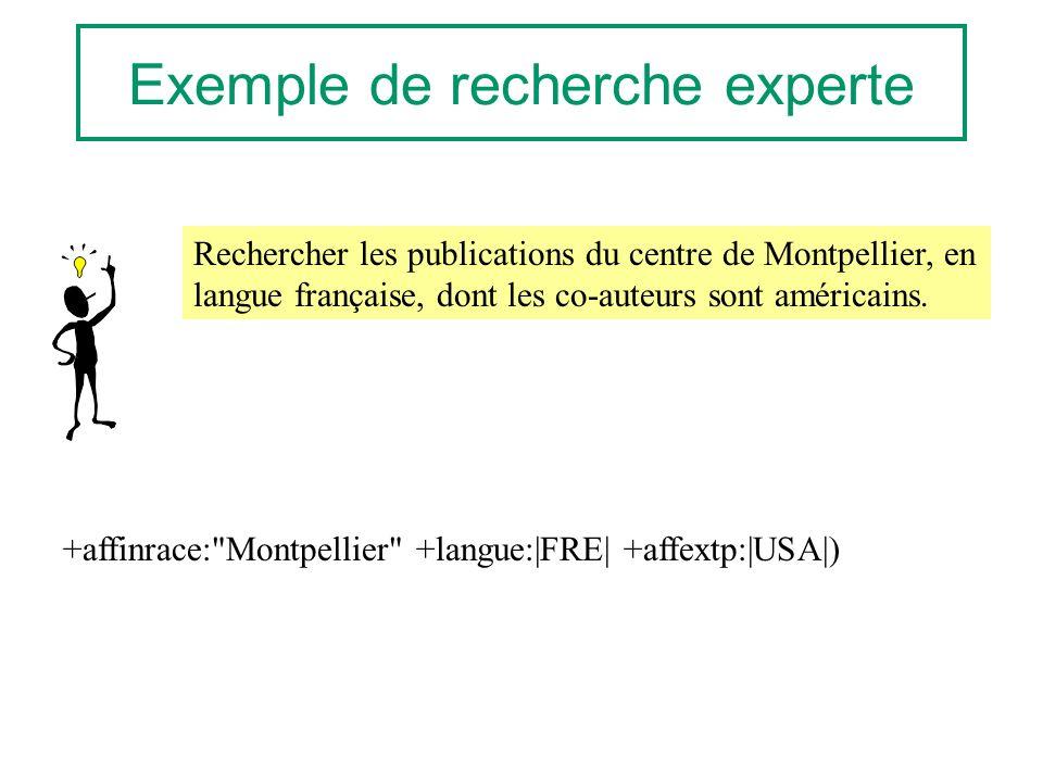 Exemple de recherche experte Rechercher les publications du centre de Montpellier, en langue française, dont les co-auteurs sont américains. +affinrac