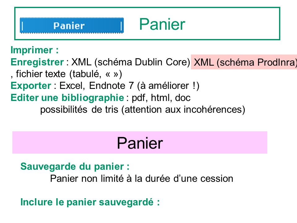 Panier Sauvegarde du panier : Panier non limité à la durée dune cession Inclure le panier sauvegardé : Imprimer : Enregistrer : XML (schéma Dublin Core),, fichier texte (tabulé, « ») Exporter : Excel, Endnote 7 (à améliorer !) Editer une bibliographie : pdf, html, doc possibilités de tris (attention aux incohérences) Panier XML (schéma ProdInra)