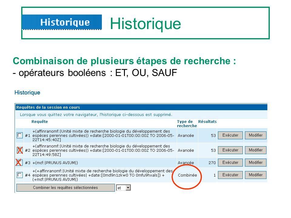 Historique Combinaison de plusieurs étapes de recherche : - opérateurs booléens : ET, OU, SAUF X X