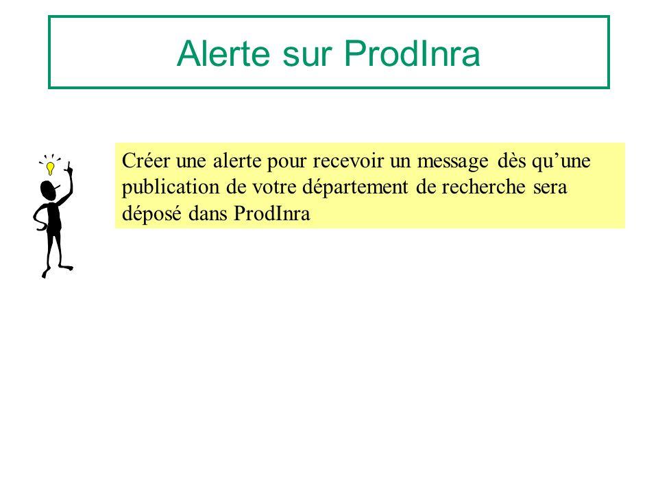 Alerte sur ProdInra Créer une alerte pour recevoir un message dès quune publication de votre département de recherche sera déposé dans ProdInra