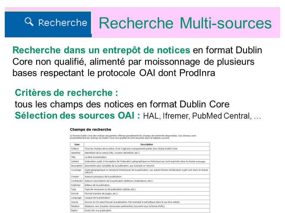 Recherche Multi-sources Critères de recherche : tous les champs des notices en format Dublin Core Sélection des sources OAI : HAL, Ifremer, PubMed Central, … Recherche dans un entrepôt de notices en format Dublin Core non qualifié, alimenté par moissonnage de plusieurs bases respectant le protocole OAI dont ProdInra