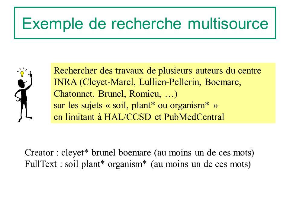 Exemple de recherche multisource Rechercher des travaux de plusieurs auteurs du centre INRA (Cleyet-Marel, Lullien-Pellerin, Boemare, Chatonnet, Brunel, Romieu, …) sur les sujets « soil, plant* ou organism* » en limitant à HAL/CCSD et PubMedCentral Creator : cleyet* brunel boemare (au moins un de ces mots) FullText : soil plant* organism* (au moins un de ces mots)
