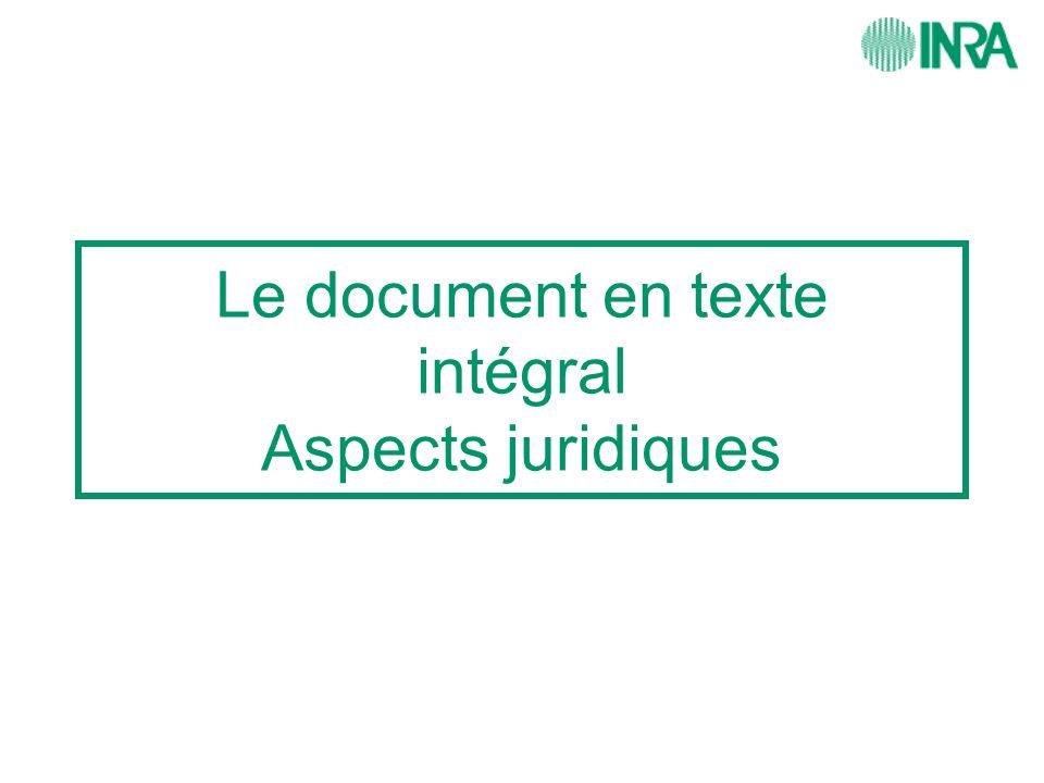 Le document en texte intégral Aspects juridiques