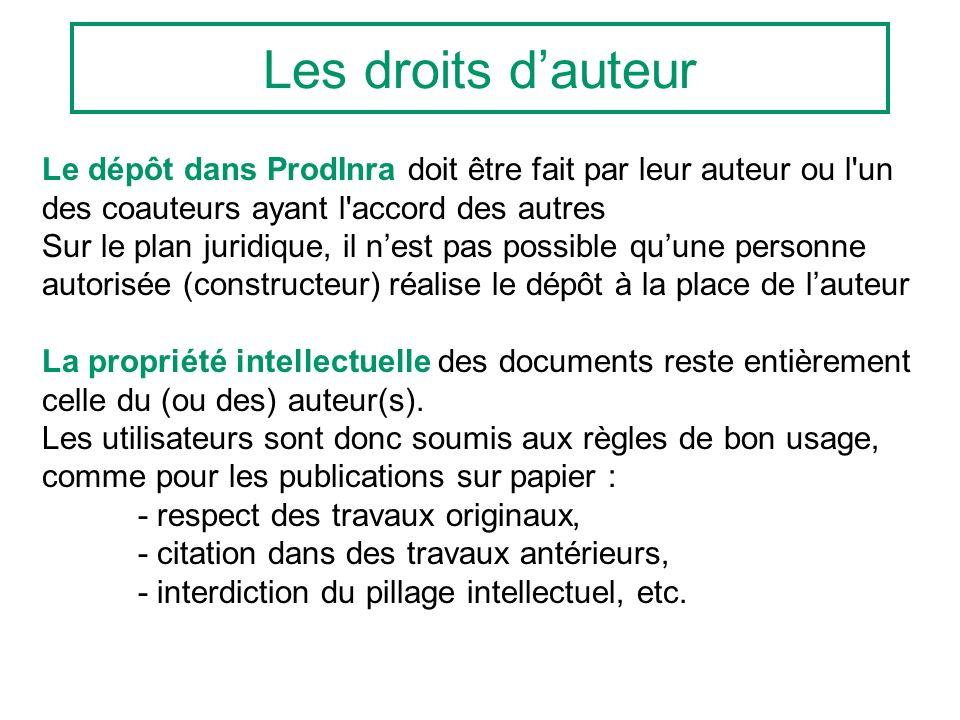 Les droits dauteur Le dépôt dans ProdInra doit être fait par leur auteur ou l'un des coauteurs ayant l'accord des autres Sur le plan juridique, il nes