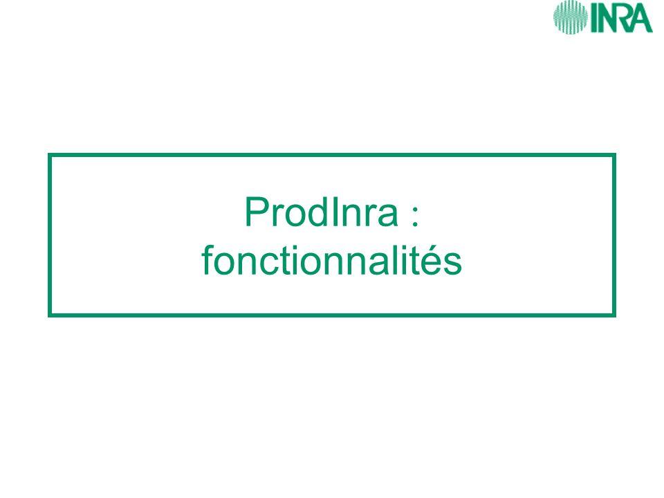 ProdInra : fonctionnalités