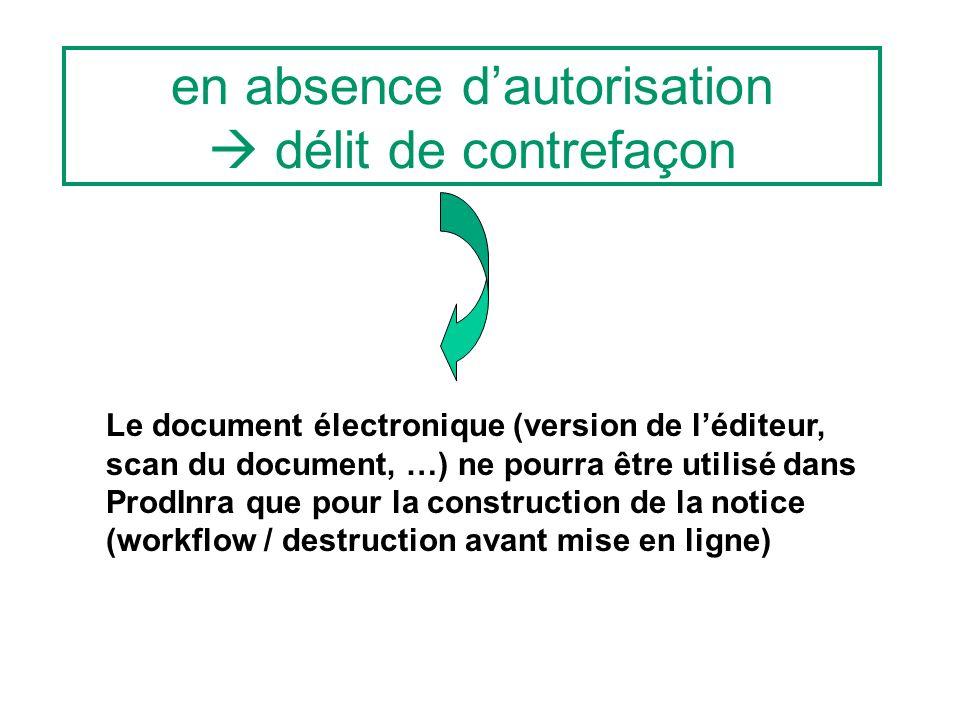 en absence dautorisation délit de contrefaçon Le document électronique (version de léditeur, scan du document, …) ne pourra être utilisé dans ProdInra que pour la construction de la notice (workflow / destruction avant mise en ligne)