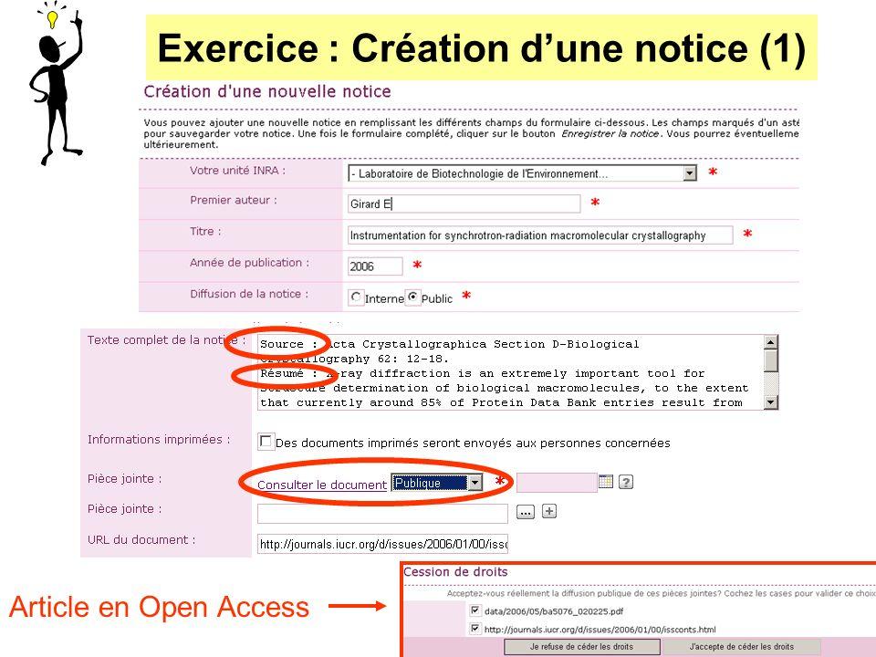 Exercice : Création dune notice (1) Article en Open Access