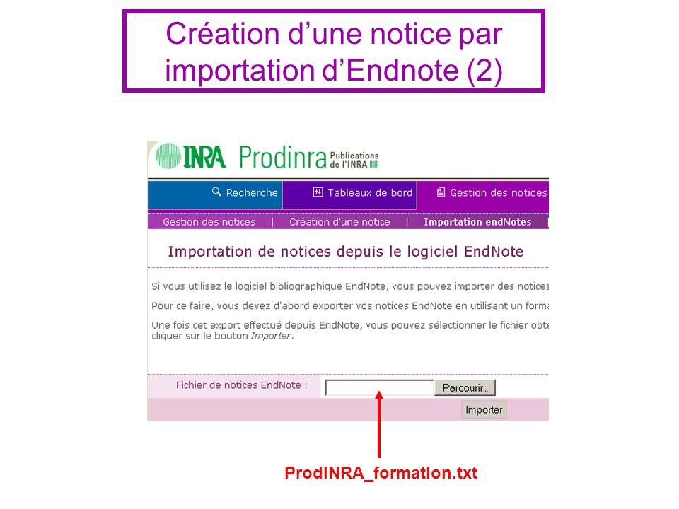 ProdINRA_formation.txt Création dune notice par importation dEndnote (2)