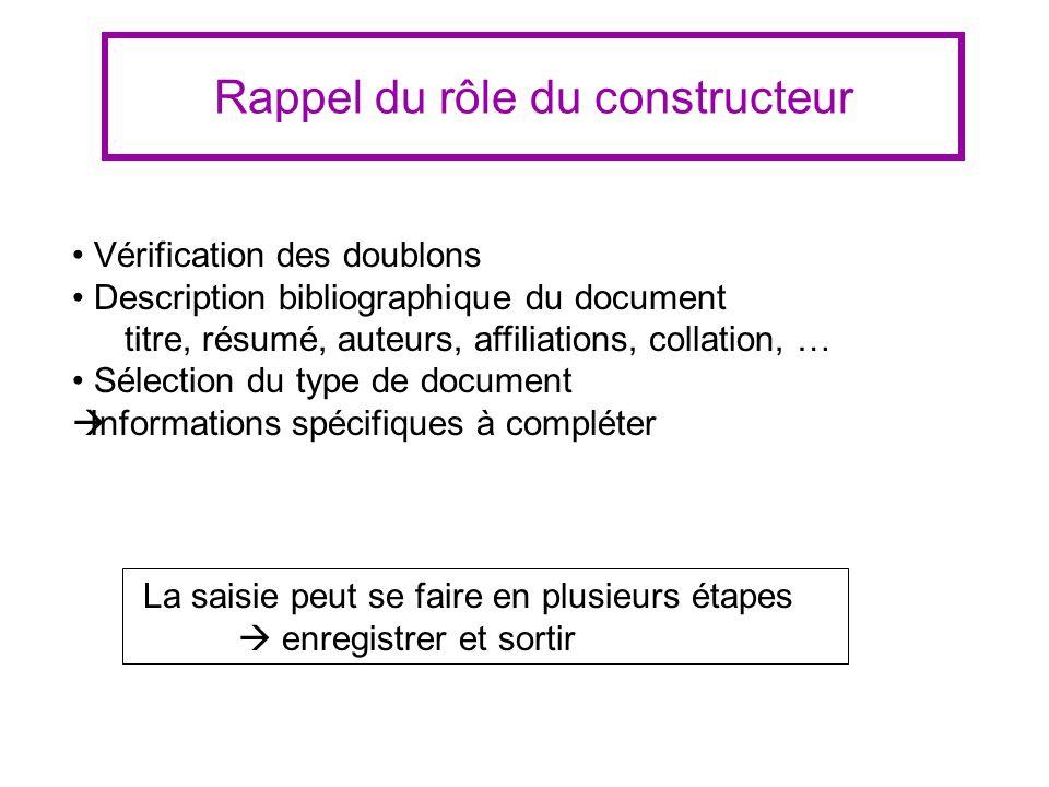 Rappel du rôle du constructeur Vérification des doublons Description bibliographique du document titre, résumé, auteurs, affiliations, collation, … Sé