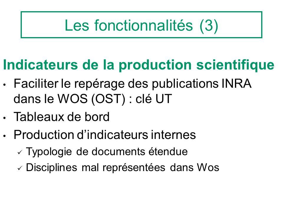 Les fonctionnalités (3) Indicateurs de la production scientifique Faciliter le repérage des publications INRA dans le WOS (OST) : clé UT Tableaux de b