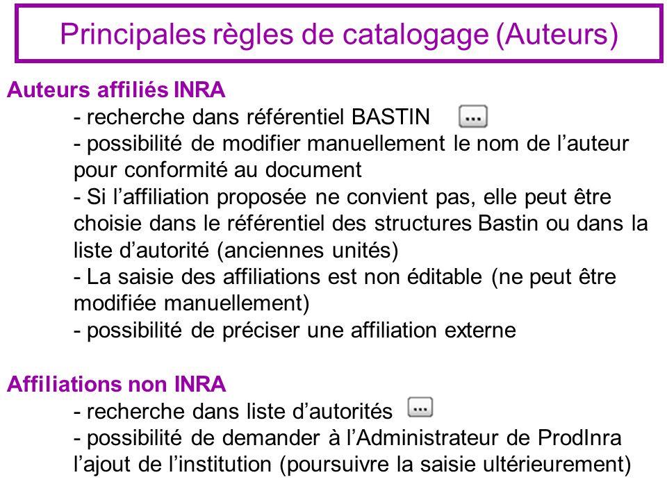 Principales règles de catalogage (Auteurs) Auteurs affiliés INRA - recherche dans référentiel BASTIN - possibilité de modifier manuellement le nom de lauteur pour conformité au document - Si laffiliation proposée ne convient pas, elle peut être choisie dans le référentiel des structures Bastin ou dans la liste dautorité (anciennes unités) - La saisie des affiliations est non éditable (ne peut être modifiée manuellement) - possibilité de préciser une affiliation externe Affiliations non INRA - recherche dans liste dautorités - possibilité de demander à lAdministrateur de ProdInra lajout de linstitution (poursuivre la saisie ultérieurement)