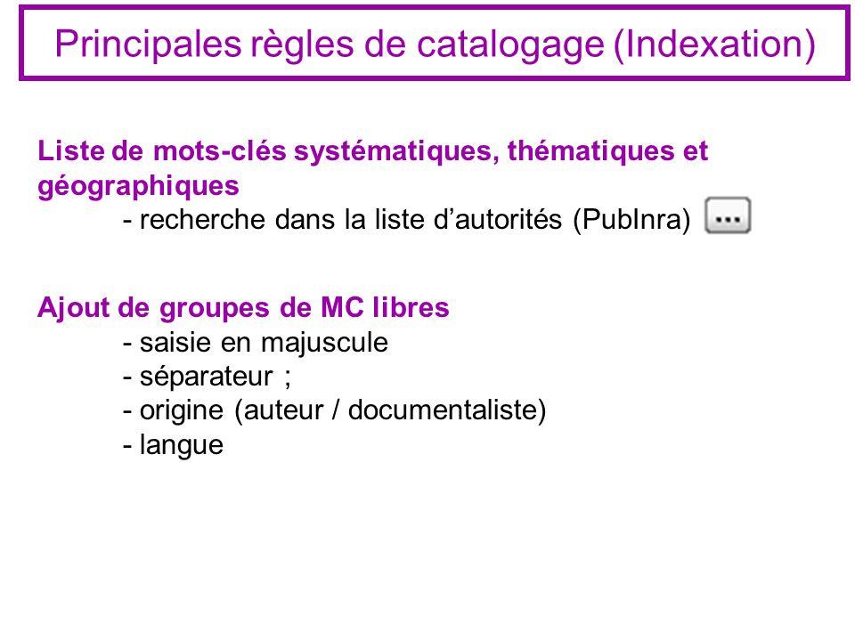 Principales règles de catalogage (Indexation) Liste de mots-clés systématiques, thématiques et géographiques - recherche dans la liste dautorités (Pub