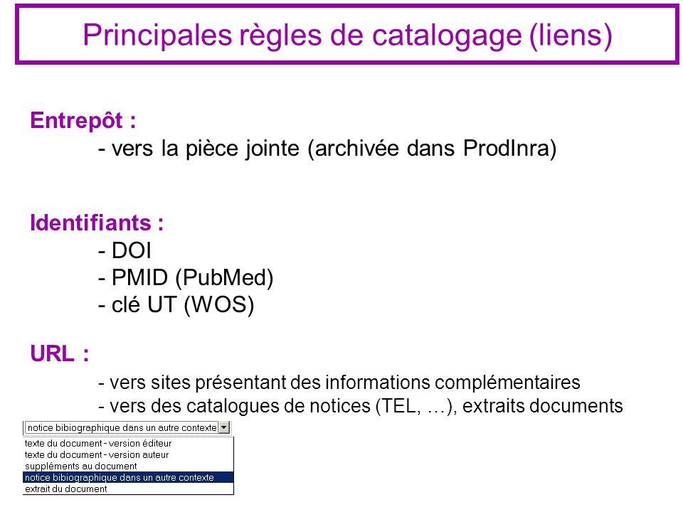 Principales règles de catalogage (liens) Entrepôt : - vers la pièce jointe (archivée dans ProdInra) Identifiants : - DOI - PMID (PubMed) - clé UT (WOS