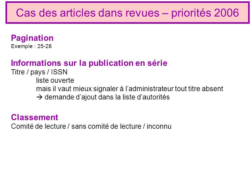 Cas des articles dans revues – priorités 2006 Classement Comité de lecture / sans comité de lecture / inconnu Informations sur la publication en série
