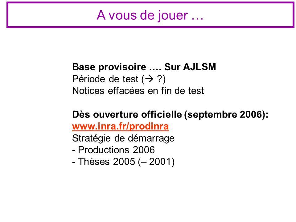 A vous de jouer … Base provisoire …. Sur AJLSM Période de test ( ?) Notices effacées en fin de test Dès ouverture officielle (septembre 2006): www.inr