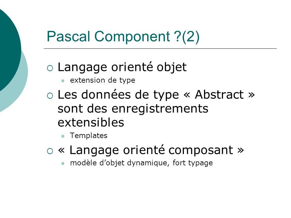 Pascal Component ?(2) Langage orienté objet extension de type Les données de type « Abstract » sont des enregistrements extensibles Templates « Langag