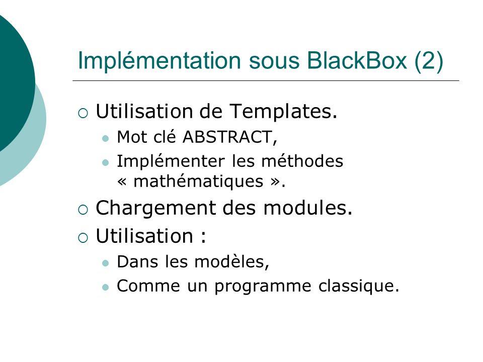 Implémentation sous BlackBox (2) Utilisation de Templates. Mot clé ABSTRACT, Implémenter les méthodes « mathématiques ». Chargement des modules. Utili