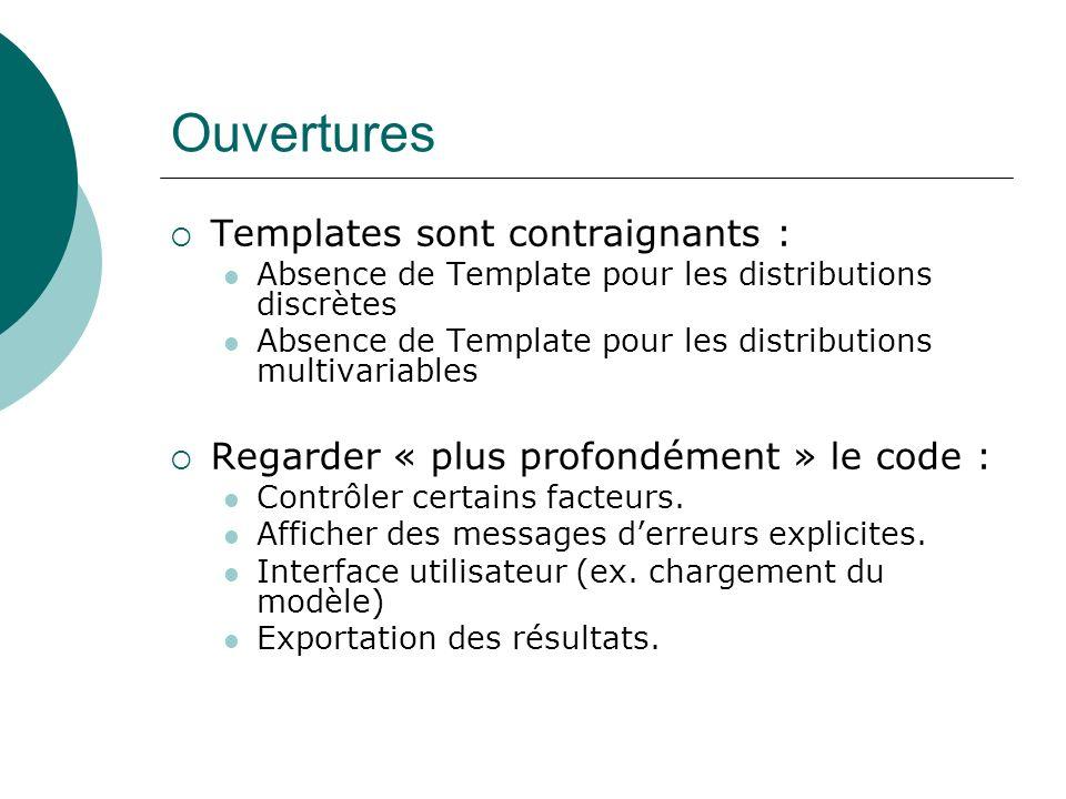 Ouvertures Templates sont contraignants : Absence de Template pour les distributions discrètes Absence de Template pour les distributions multivariabl