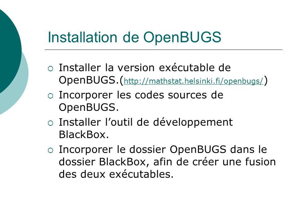Installation de OpenBUGS Installer la version exécutable de OpenBUGS.( http://mathstat.helsinki.fi/openbugs/ ) http://mathstat.helsinki.fi/openbugs/ I