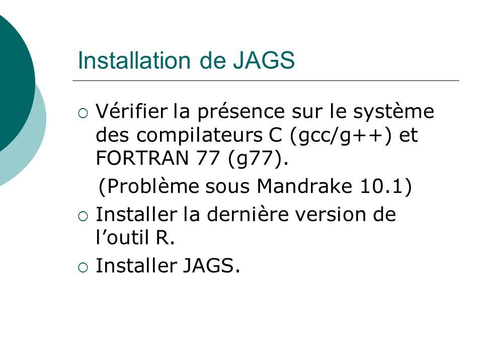 Installation de JAGS Vérifier la présence sur le système des compilateurs C (gcc/g++) et FORTRAN 77 (g77). (Problème sous Mandrake 10.1) Installer la