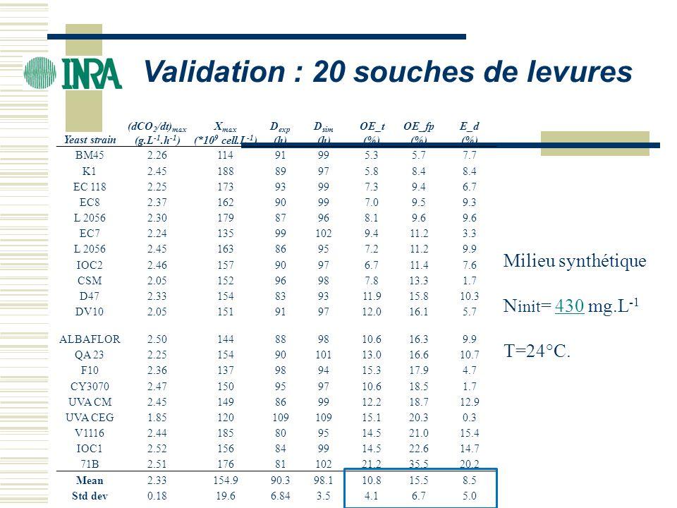 Validation : 20 souches de levures Yeast strain (dCO 2 /dt) max (g.L -1.h -1 ) X max (*10 9 cell.L -1 ) D exp (h) D sim (h) OE_t (%) OE_fp (%) E_d (%)