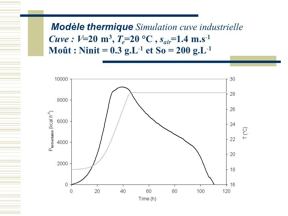 Modèle thermique Simulation cuve industrielle Cuve : V=20 m 3, T e =20 °C, s air =1.4 m.s -1 Moût : Ninit = 0.3 g.L -1 et So = 200 g.L -1