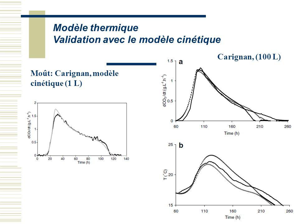 Modèle thermique Validation avec le modèle cinétique Moût: Carignan, modèle cinétique (1 L) Carignan, (100 L)