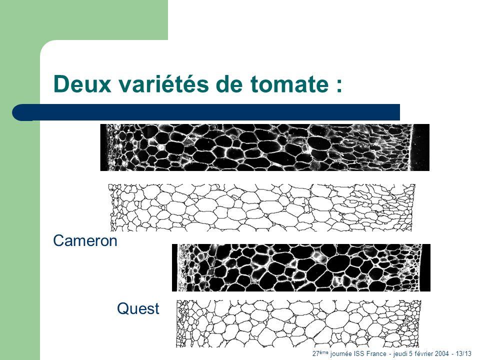 27 ème journée ISS France - jeudi 5 février 2004 - 13/13 Deux variétés de tomate : Cameron Quest