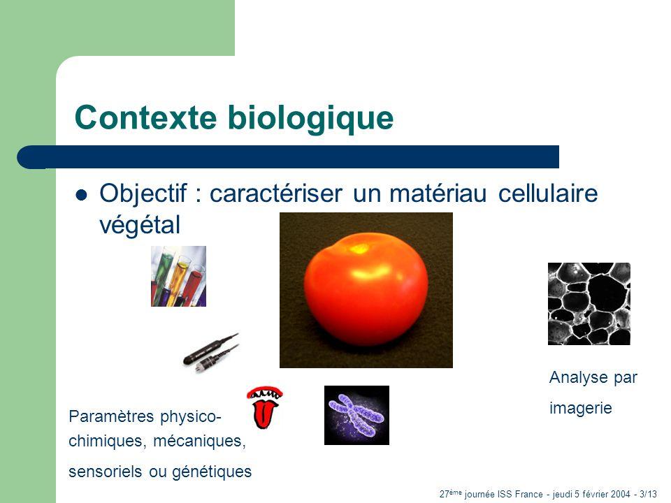 27 ème journée ISS France - jeudi 5 février 2004 - 3/13 Contexte biologique Objectif : caractériser un matériau cellulaire végétal Paramètres physico- chimiques, mécaniques, sensoriels ou génétiques Analyse par imagerie