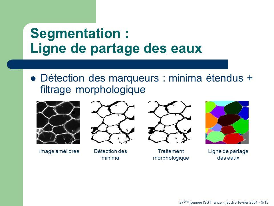 27 ème journée ISS France - jeudi 5 février 2004 - 9/13 Segmentation : Ligne de partage des eaux Détection des marqueurs : minima étendus + filtrage m