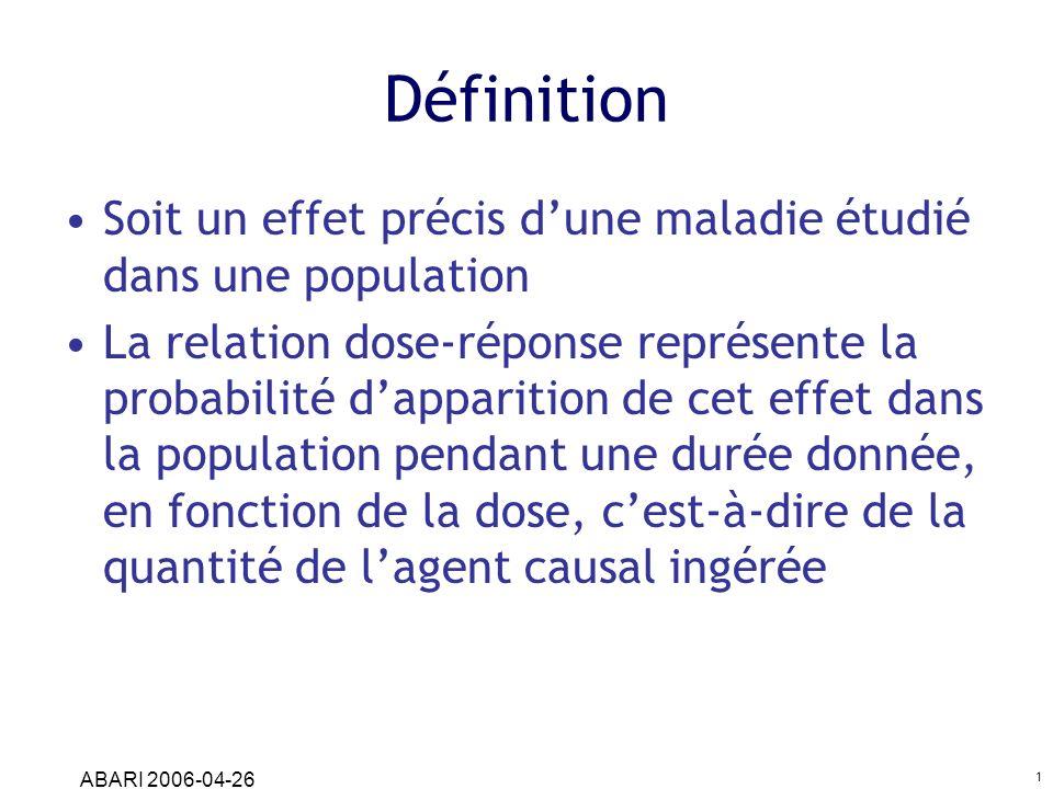 ABARI 2006-04-26 1 Définition Soit un effet précis dune maladie étudié dans une population La relation dose-réponse représente la probabilité dapparit