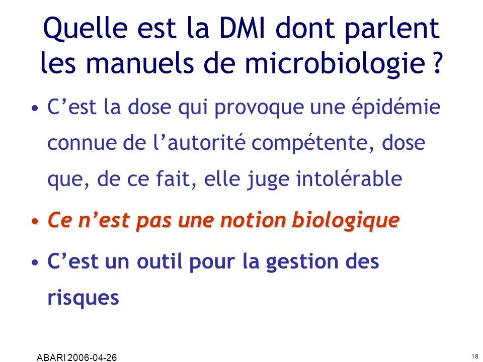 ABARI 2006-04-26 18 Quelle est la DMI dont parlent les manuels de microbiologie ? Cest la dose qui provoque une épidémie connue de lautorité compétent