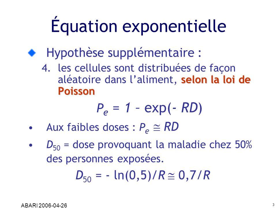 ABARI 2006-04-26 3 Équation exponentielle Hypothèse supplémentaire : selon la loi de Poisson 4.les cellules sont distribuées de façon aléatoire dans l
