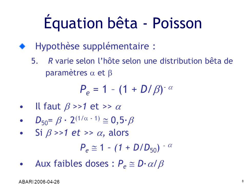 ABARI 2006-04-26 8 Équation bêta - Poisson Hypothèse supplémentaire : 5. R varie selon lhôte selon une distribution bêta de paramètres et P e = 1 – (1