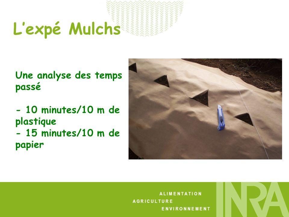 A L I M E N T A T I O N A G R I C U L T U R E E N V I R O N N E M E N T Lexpé Mulchs Une analyse des temps passé - 10 minutes/10 m de plastique - 15 minutes/10 m de papier