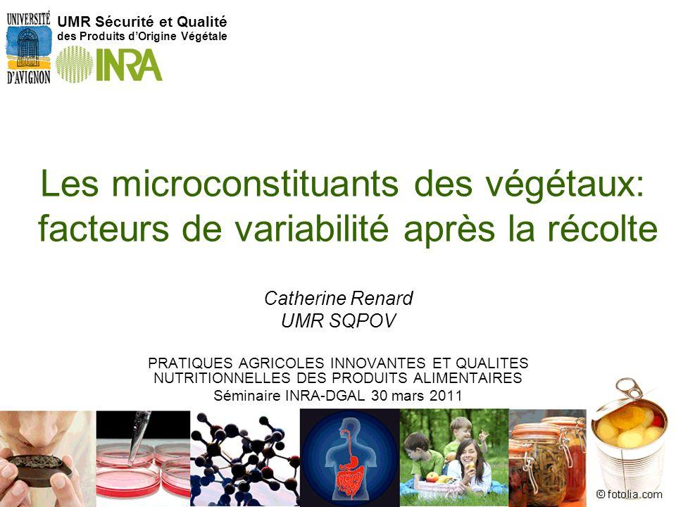 1 Les microconstituants des végétaux: facteurs de variabilité après la récolte UMR Sécurité et Qualité des Produits dOrigine Végétale Catherine Renard