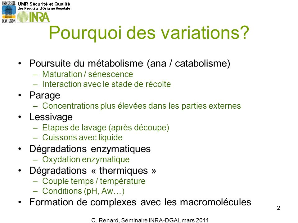 Poursuite du métabolisme (ana / catabolisme) –Maturation / sénescence –Interaction avec le stade de récolte Parage –Concentrations plus élevées dans l
