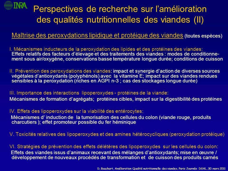 D. Bauchart, Amélioration Qualité nutritionnelle des viandes, Paris Journée DGAL, 30 mars 2011 Perspectives de recherche sur lamélioration des qualité