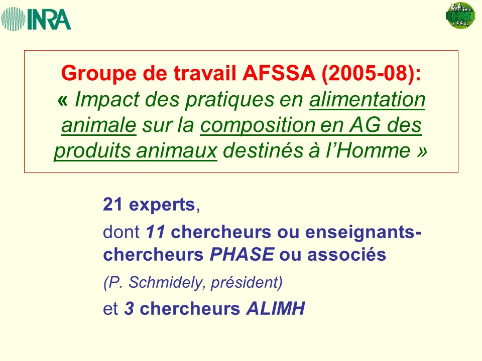 Groupe de travail AFSSA (2005-08): « Impact des pratiques en alimentation animale sur la composition en AG des produits animaux destinés à lHomme » 21