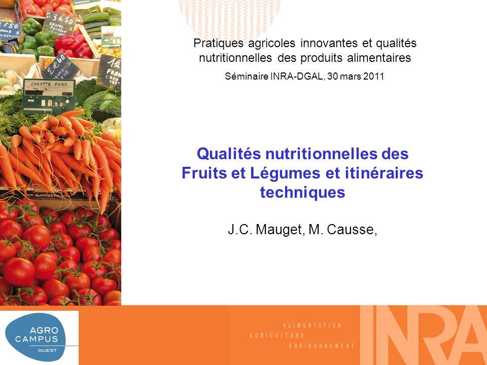 A L I M E N T A T I O N A G R I C U L T U R E E N V I R O N N E M E N T Les microconstituants des fruits et légumes frais et transformés * Vitamines : - Vitamine C, caroténoides (provit A), vitamine B9 (folates) * Minéraux : - K+, Ca++ * Métabolites secondaires : - Effets santés plus ou moins validés - Des classes très diverses.