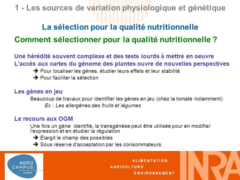 A L I M E N T A T I O N A G R I C U L T U R E E N V I R O N N E M E N T Comment sélectionner pour la qualité nutritionnelle .