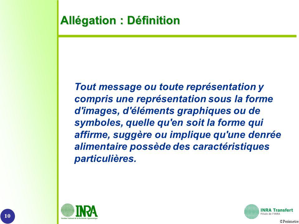 ©Perimetre Allégation : Définition Tout message ou toute représentation y compris une représentation sous la forme d'images, d'éléments graphiques ou
