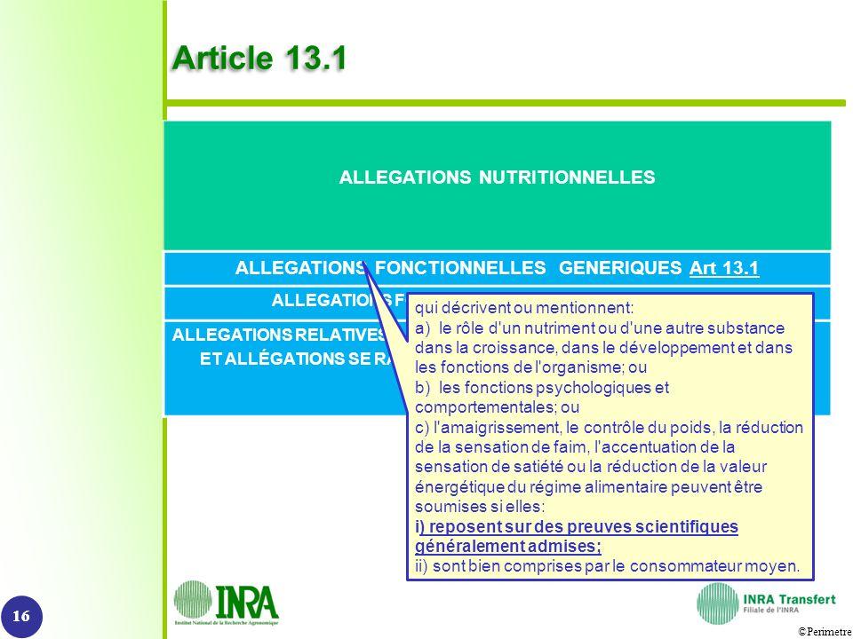 ©Perimetre Article 13.1 16 ALLEGATIONS NUTRITIONNELLES ALLEGATIONS FONCTIONNELLES GENERIQUES Art 13.1 ALLEGATIONS FONCTIONNELLES NOUVELLES Art 13.5 AL