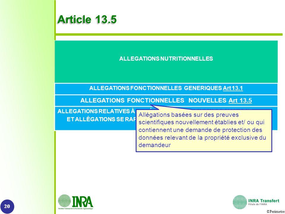 ©Perimetre Article 13.5 20 ALLEGATIONS NUTRITIONNELLES ALLEGATIONS FONCTIONNELLES GENERIQUES Art 13.1 ALLEGATIONS FONCTIONNELLES NOUVELLES Art 13.5 AL