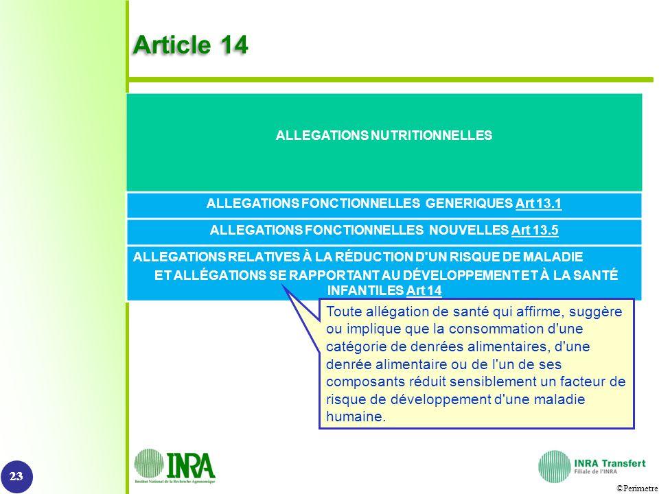 ©Perimetre Article 14 23 ALLEGATIONS NUTRITIONNELLES ALLEGATIONS FONCTIONNELLES GENERIQUES Art 13.1 ALLEGATIONS FONCTIONNELLES NOUVELLES Art 13.5 ALLE