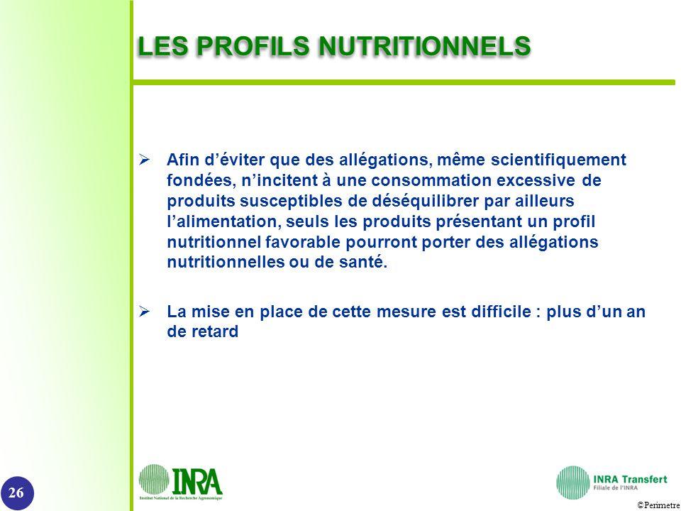 ©Perimetre LES PROFILS NUTRITIONNELS Afin déviter que des allégations, même scientifiquement fondées, nincitent à une consommation excessive de produi
