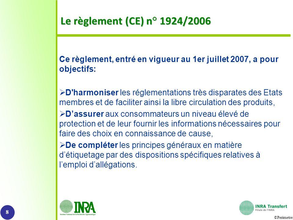 ©Perimetre Le règlement (CE) n° 1924/2006 Ce règlement, entré en vigueur au 1er juillet 2007, a pour objectifs: D'harmoniser les réglementations très