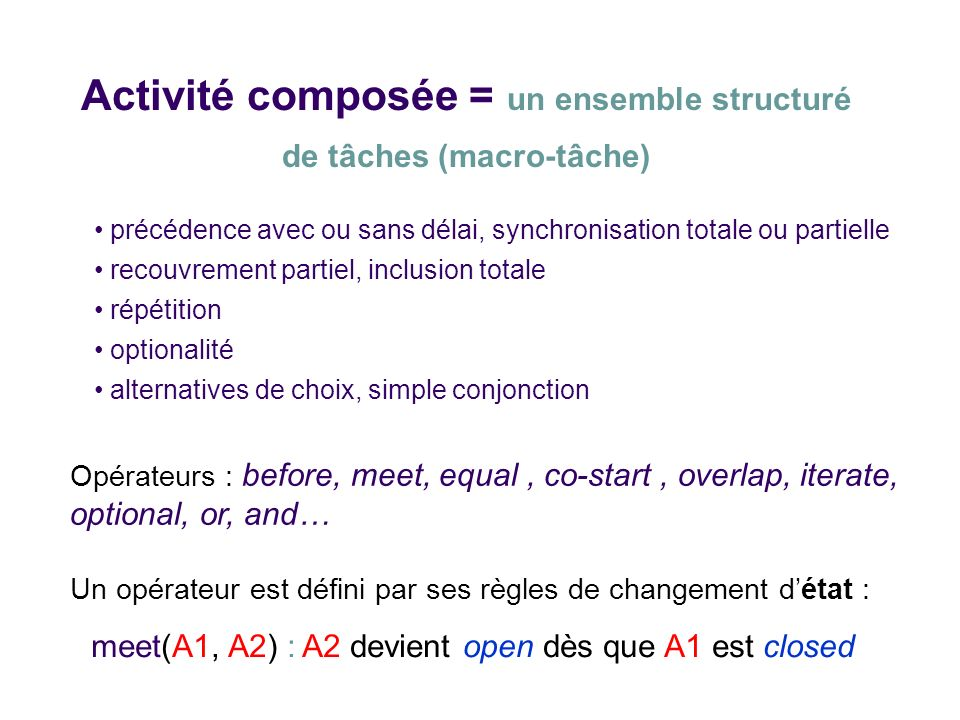 Activité composée = un ensemble structuré de tâches (macro-tâche) Opérateurs : before, meet, equal, co-start, overlap, iterate, optional, or, and… Un